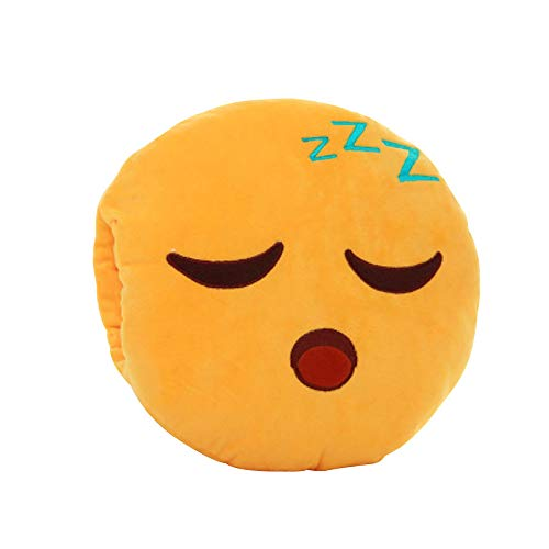 Aribelly Emoji Smiley Emoticon Yellow Round Cushion Stuffed Plush Soft Pillow 32cm -