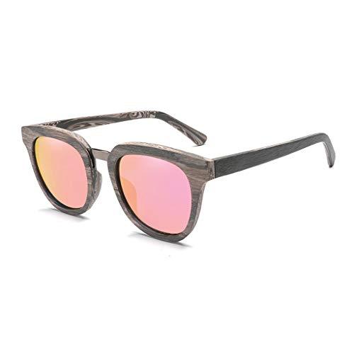 la polarizadas clásicas sol Aire Gafas Marco Moda Color Libre Deportivas Gafas al de la Gafas los del Pink Cuadrado Color Hombres del de con de Green Lente bambú d5Yqwxq6a
