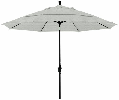 California Umbrella 11' Round Aluminum Pole Fiberglass Rib Market Umbrella, Crank Lift, Collar Tilt, Black Pole, Woven Granite Olefin