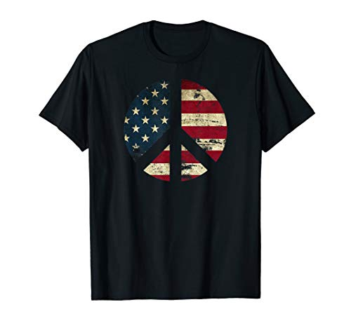 Distressed American Flag Peace Sign, equality, patriotic T-Shirt (Sign Distressed Peace)