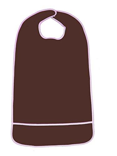 Waterproof Terry Cloth Adult Bib w/ Velcro Closure and Crumb Catcher (Chocolate Brown - 16