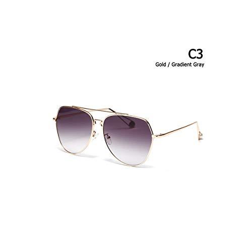 SYBYA NEW Fashion Gold Metal Aviation Style Sunglasses UV400 Gradient Fashion Brand Design Sun Glasses Oculos De Sol 813032 ()