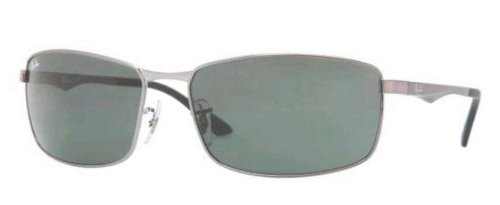 Ray-Ban 0RB3498 004/71 Rectangular Sunglasses,Gunmetal Frame/Green Lens,61 - Ray Metal Ban Frames