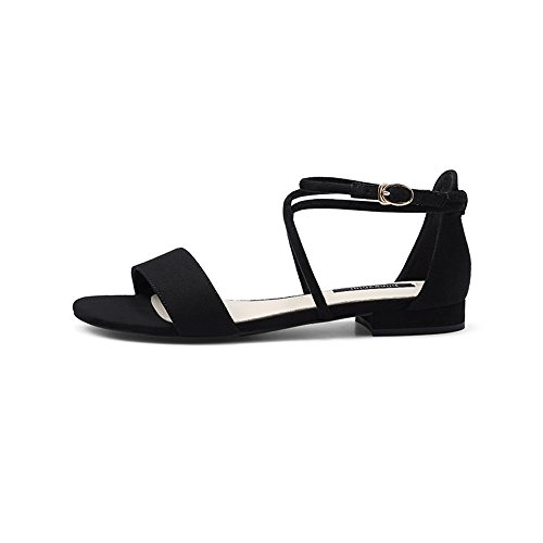 Black cn35 uk3 Heel With Sandals Mid Summer B 5 B color Shoes Amazing Strapped Flat Women's Size Eu36 56Caq