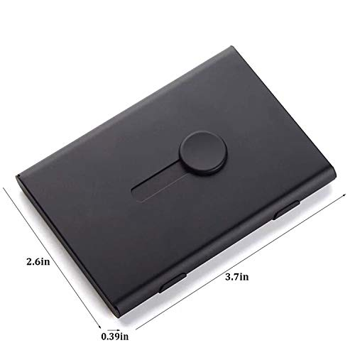 FAYEAH Business Card Holder, Thumb-Drive Business Card Case Stainless Steel Card Holder Card Case Excellent Design for Men and Women (Black)