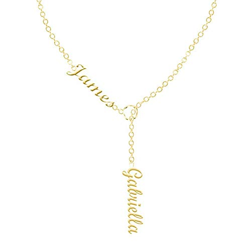 Personalized Name Necklace Sterling Silver - Custom Engraving Two Names Initial Pendant Necklace (Gold, sterling-silver)