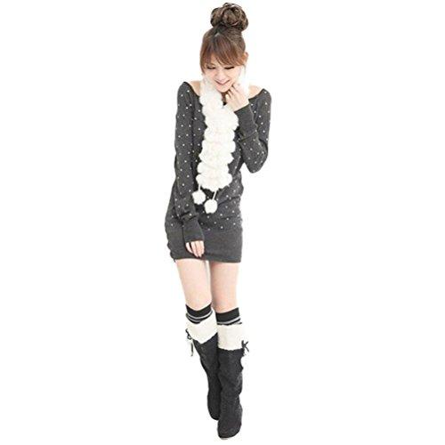 Cache Blanc Polaire Femme Fourrure Collier Cou Echarpe Pompom HIver tfxFapq
