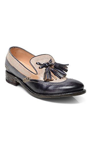 Bed|Stu Women's Capella Leather Heel Loafer (7, Navy Nectar Lux) - Tooled Wingtip