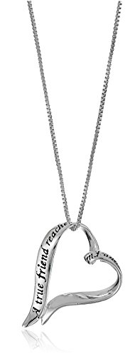 "Sterling Silver Ribbon Heart ""A True Friend... Touches Your Heart"" Pendant Necklace, 18"""