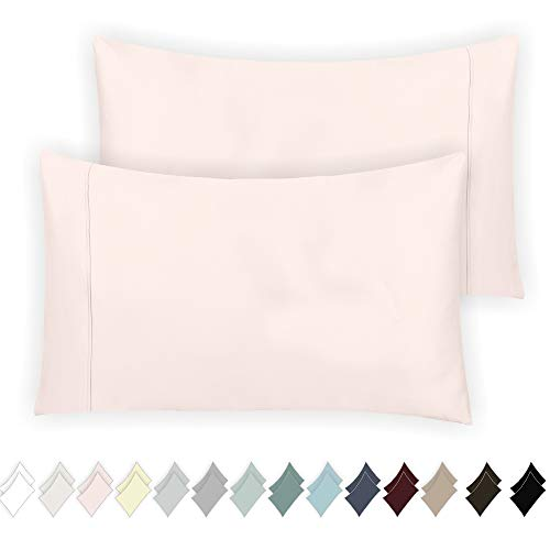 California Design Den 400 Thread Count 100% Cotton Pillowcase Set of 2, Long - Staple Combed Pure Natural Cotton Pillowcase, Soft & Silky Sateen Weave (Standard, Blush)