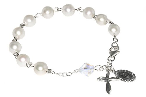 (Womens Rosary Bracelet Made with White Pearlized Swarovski Crystal Elements (Wedding, Confirmation, Christmas, Easter, Mother's Day & More))