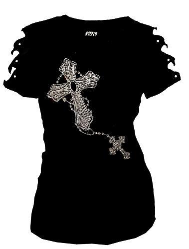 Rhinestone Ripped - Bling Bling Rhinestone T-Shirt Two Cross Ripped Cut Out Short (Medium) Black