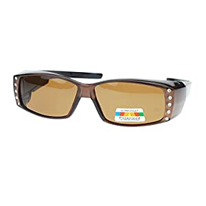 Womens Polarized Fit Over Glasses Sunglasses Rhinestones Rectangle Brown