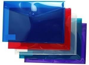 Carpetas A4 de plástico tamaño folio para almacenar documentos, con cierre de botón, colores variados. Pack de 20
