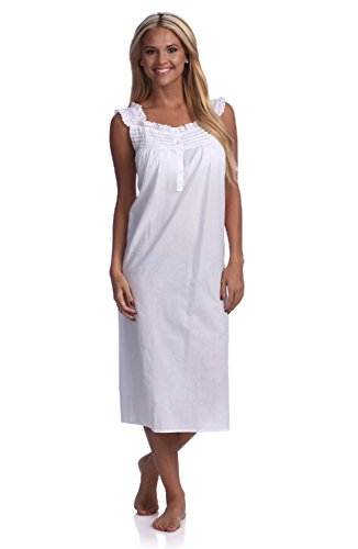 Handmade Women's Eyelet Trim Pleated Nightgown White. Size X-Large.