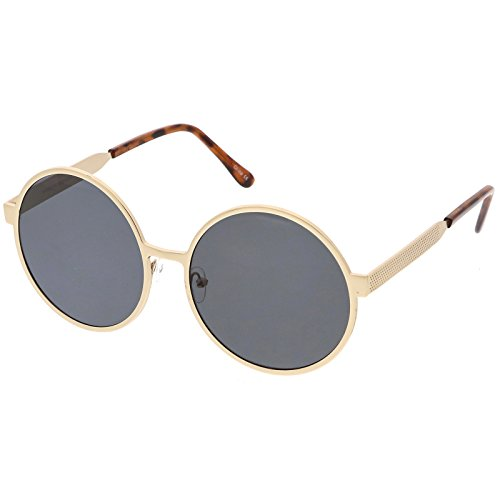 sunglassLA - Oversize Round Metal Frame Sunglasses With Neutral Colored Flat Lens 58mm (Gold / - Somewhere Sunglasses Sunday