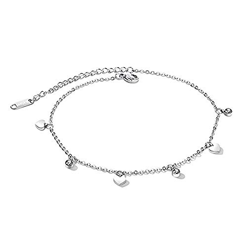 Women Stainless Steel Anklet Heart Bead Crystal Tassel Pendant with Adjustable Link Chain 21cm Silver ()