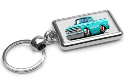 1961-62 Ford F-100 Pickup Truck Chrome Double Sided Key Ring
