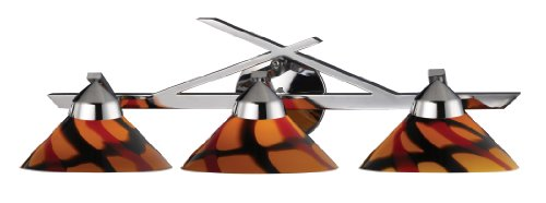 (Elk 1472/3JAS 3-Light Wall Bracket In Polished Chrome and Jasper Glass)