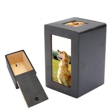 Pet Urn Box - Dog Pet Urn - Pet Dog Cat Cremation Urn Memorial Keep Sake Peaceful Photo Box Rectangle Black ( Cat Pet Urn )