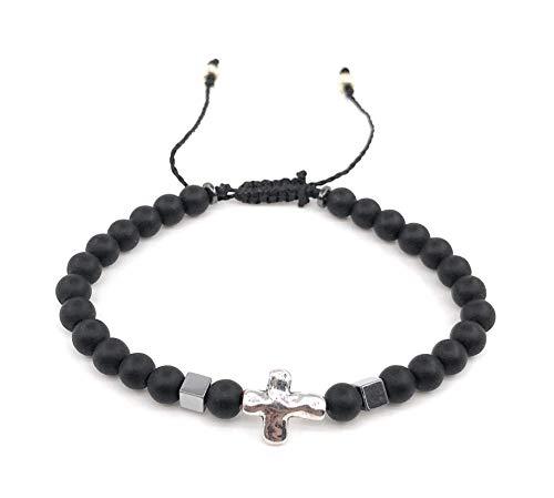 28b076d3a851 Cross Bracelet for Men Black Beads Adjustable Pulsera para Hombre