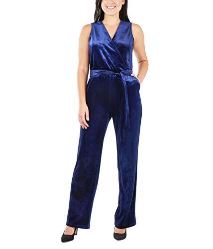 f827ba006 NY Collection Women's Petite Sleeveless Faux Wrap Velvet Jumpsuit Navy