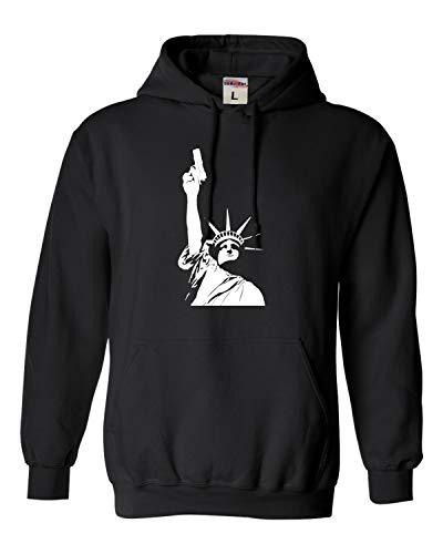 XXX-Large Black Adult Statue of Liberty Holding Gun 2nd Amendment Sweatshirt Hoodie
