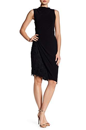 Vera Wang Womens Matte Jersey Lace Trim Cocktail Dress Black ()