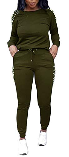 - Women Beaded Two Piece Tracksuit - Pullover Hoodies Sweatpants Sports Solid Color Jumpsuit Romper Set Army Green XL