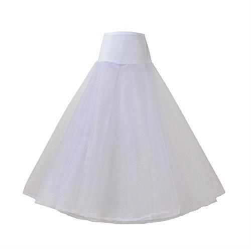 (AW A Line Petticoat Skirt Half Slip Floor Length White Bridal Petticoat Crinoline Underskirt, Large)