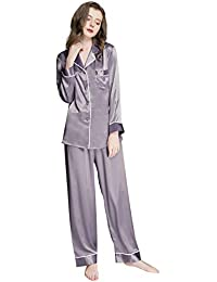 Womens Silk Satin Pajamas Set Button Down Sleepwear Loungewear XS~3XL