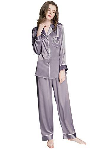 Lonxu Womens Silk Satin Pajamas Set Gray XL