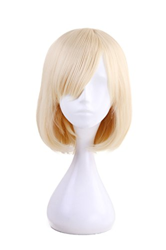 HH Building Women Layered Short Straight Bob with Side Bangs Cosplay Costume Wig Hair (Blonde) (Medium Length Layered Hair With Side Bangs)