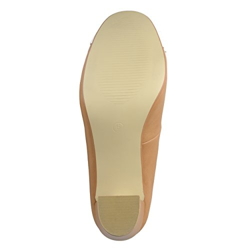 Collection tone Two Bow Round Journee Womens Camel Pumps Toe BqUtP