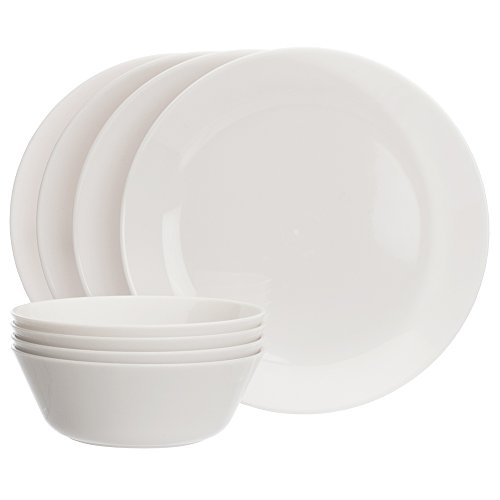 Everest White Plastic Dinnerware Plate and Bowl 8 Piece Set