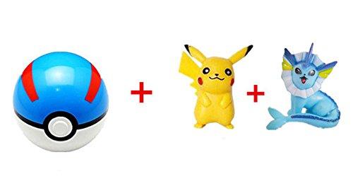 Blue-red Pokeball + 2 pcs Free Random Pokemon Figures Anime Action Toys-13 Styles