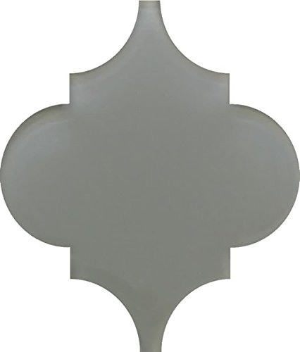 Small Sample - Pebble Grey Arabesque Glass Mosaic Tiles