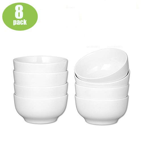 (Accguan 24-Ounce Porcelain Cereal, Soup Bowl, Dinner Set-8 Packs, White, 6 Inch)