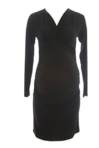 Olian Maternity Women's Lucy Ruched Surplice Neck Dress Medium Black