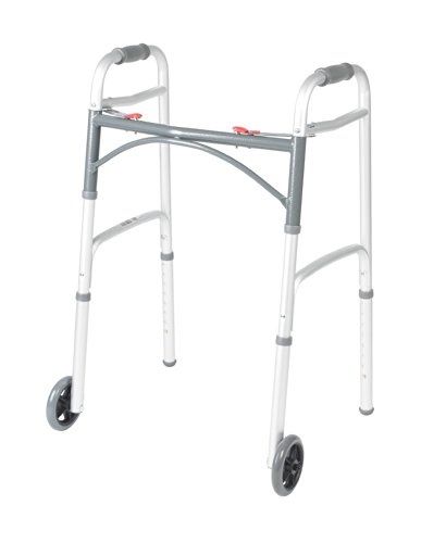 Deluxe Two Button Folding Walker with 5-Inch Wheels by Drive Medical