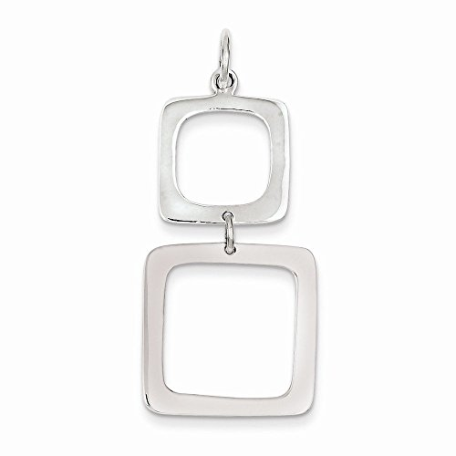 Sterling Silver Graduated Squares Dangle Pendant (1.57 in x 0.79 in)