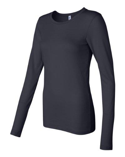 Bella Canvas Ladies' Sheer Mini Rib Long-Sleeve T-Shirt - MIDNIGHT - S