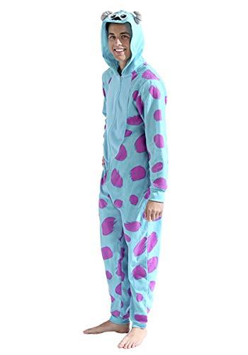 Disney Men's Sulley COS Play ONE Piece Pajama Union Suit, Blue, L/XL