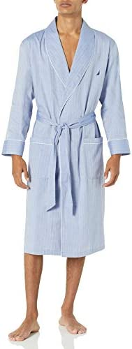 Nautica Men's Long Sleeve Lightweight Cotton Woven Robe
