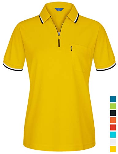 (EZEN Women's Ladies V-Neck Pullover Short Sleeve Sports Shirts Quick-Drying Tees Yellow XX-Large)