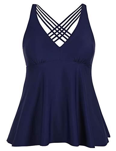 (Firpearl Women's Tankini Swimsuits Cross Back Flowy Swim Tops Modest Swimwear US16 Navy)