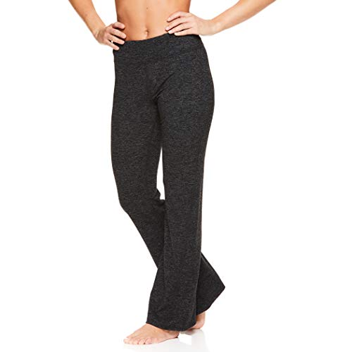 Gaiam Women's Bootcut Yoga Pants - Mid Rise Waist Straight Leg Athleisure Sweatpants - Marled Gaiam Asphalt Heather, Medium (Grey Pants Yoga Marled)