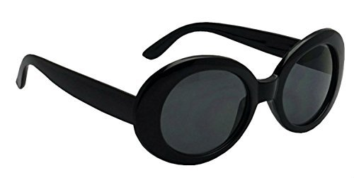 WebDeals - Oval Round Retro Oval Sunglasses Color Tint or Smoke Lenses Clout Goggles (Black, (Oval Shape Glass)