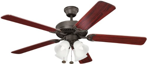 Kichler Lighting 402SNB Basics Premier 52IN 4LT Ceiling Fan, Satin Natural Bronze finish with Reversible Blades and White Glass