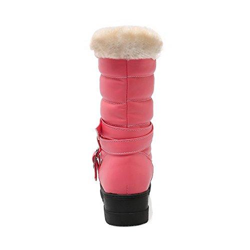 Heels Top Closed Low Kitten Womens Toe Pink Boots Solid Round AllhqFashion PU 0AwSx1qfq
